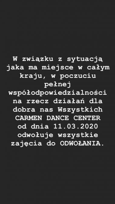 Carmen Dance Center Katowice - oficjalny komunikat w związku z zagrożeniem epidemiologicznym.